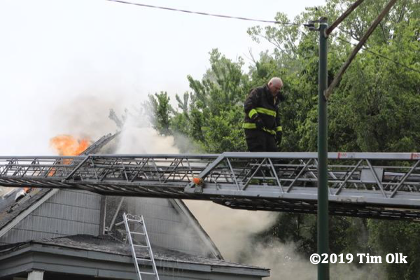 heavy fire vents through house roof