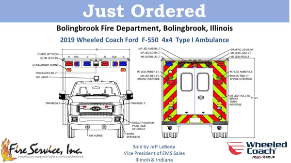 Drawing of a 2019 Ford F550 Type 1 Wheeled Coach ambulance for the Bolingbrook FD