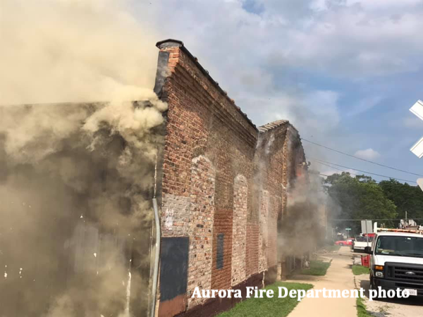 commercial building fire in Aurora, IL 7-9-19
