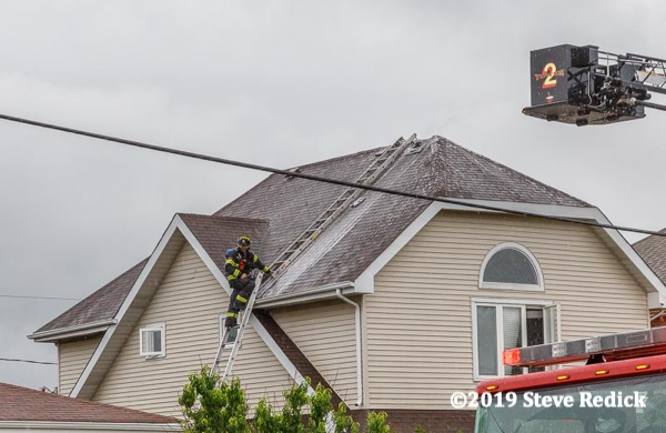 roof ladder on house after a fire