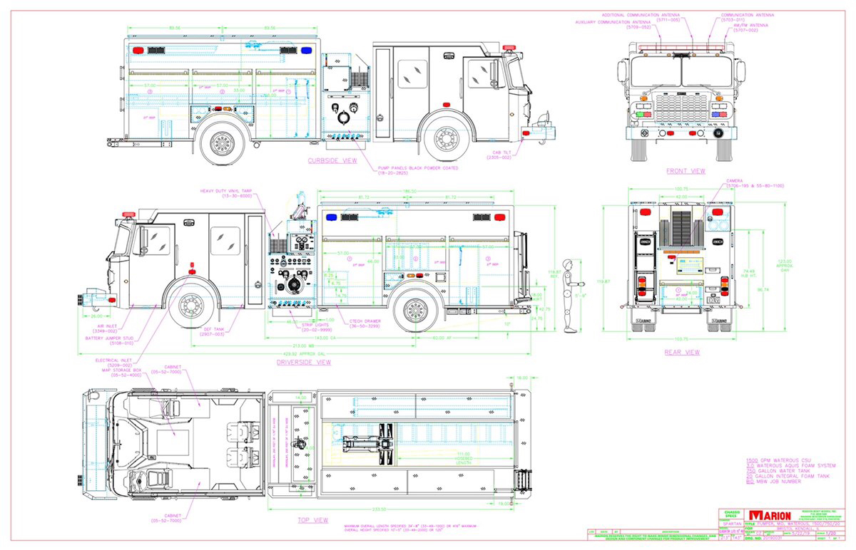 drawing of Spartan/Marion fire engine for the Bristol Kendall FPD