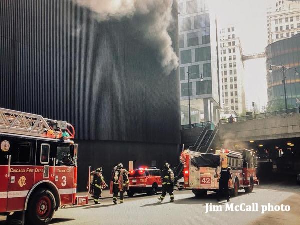smoke from a fire inside a parking garage