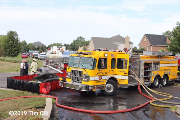 fire trucks at fire scene