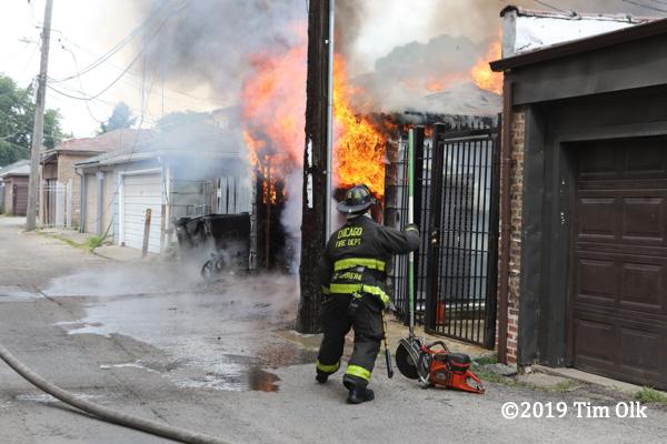 alley garage fire in Chicago