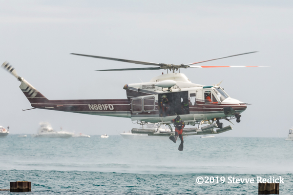 Chicago FD helicopter deploys a diver