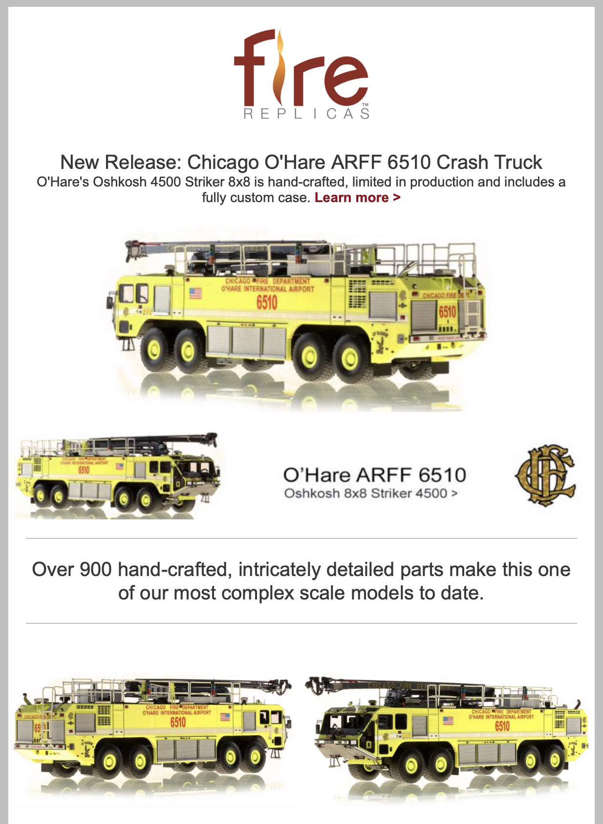 Fire Replicas model of Chicago FD ARFF 6510 at O'Hare Airport - Oshkosh Striker 8x8