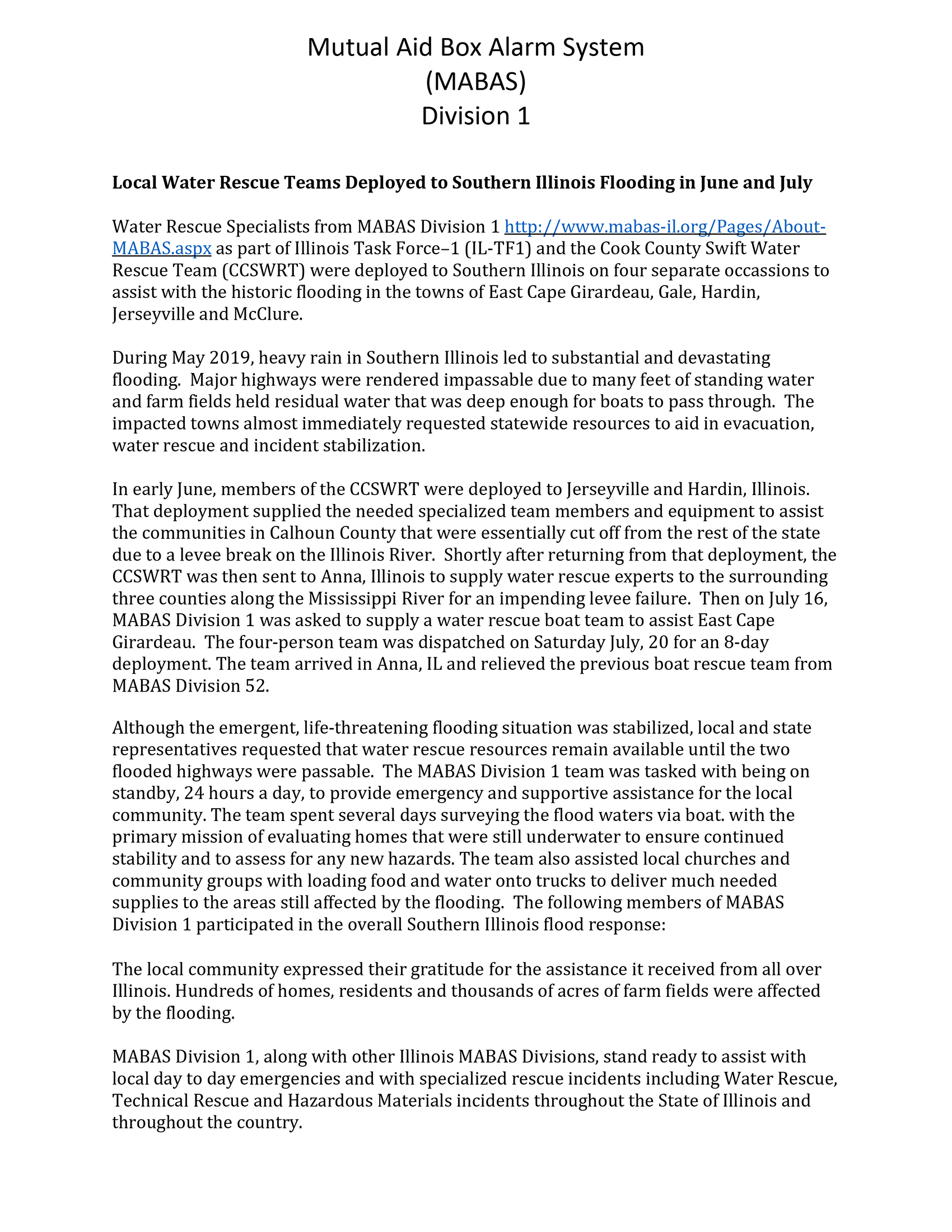 Press release about firefighters helping flooded souther Illinois towns