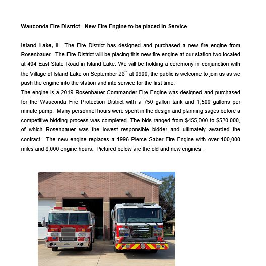 new fire engine for the Wauconda Fire District
