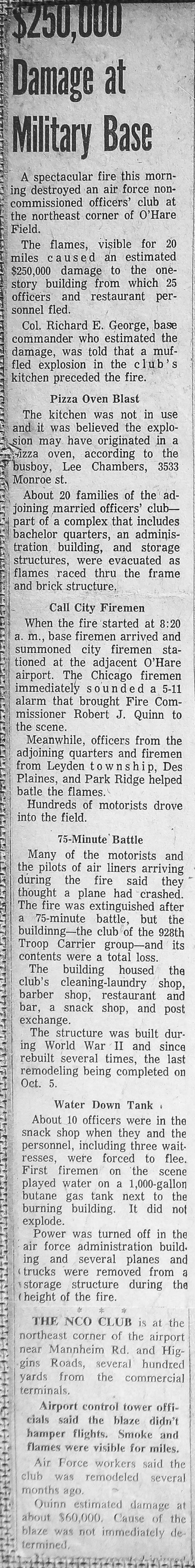 vintage 5-11 Alarm fire at O'Hare Field in Chicago 3/9/63