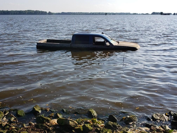 pickup truck in flooded waters