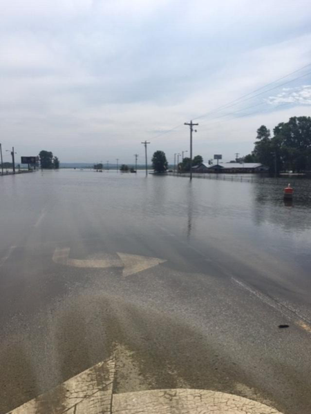 flood waters overcome rural town