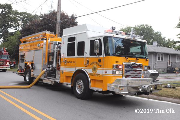 yellow Pierce fire engine