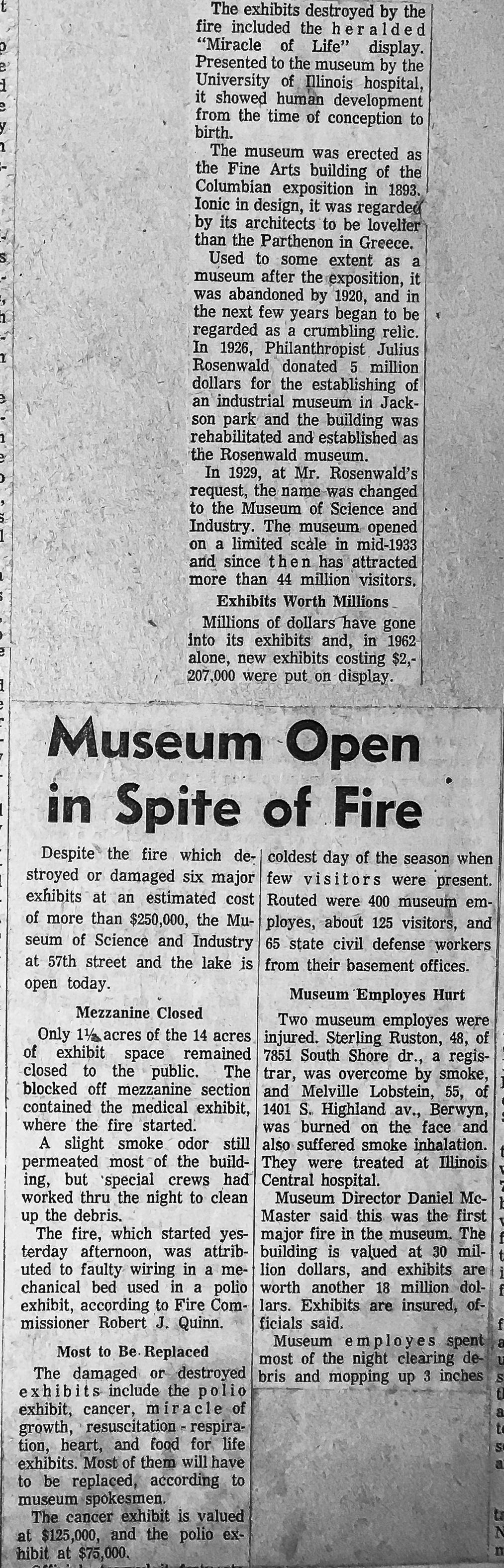 vintage news clipping of Chicago Fire Department history, a 3-11 Alarm fire at the Museum of Science and Industry in 1963
