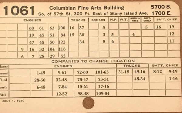 historic Chicago Fire Department box card from 1963