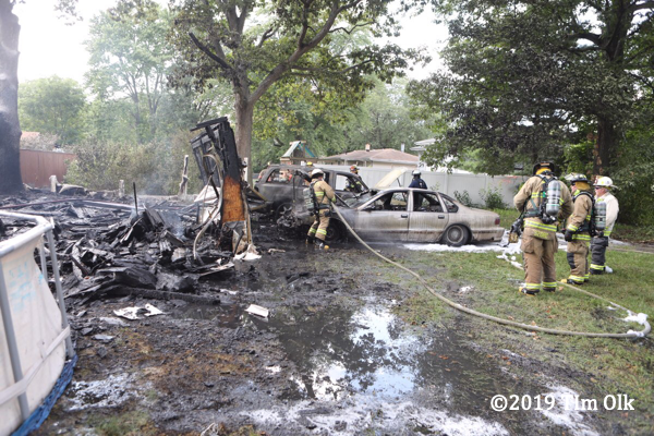 aftermath of burned out cars