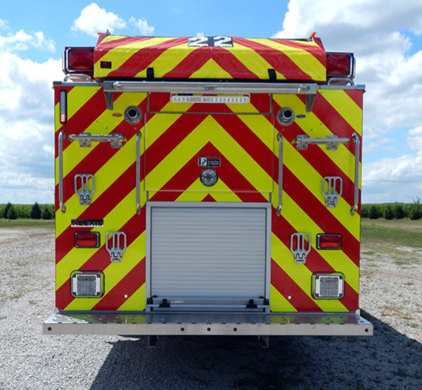 chevron striping on back of fire engine