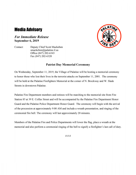 Palatine FD hosts 9/11 Memorial Ceremony