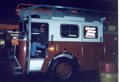 Seagrave ladder truck being delivered to NYC immediately following the attacks of 9/11/01