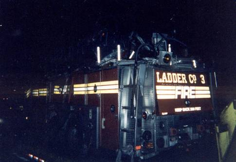 FDNY Ladder 3 pulled from the rubble of the 9/11 terrorist attacks