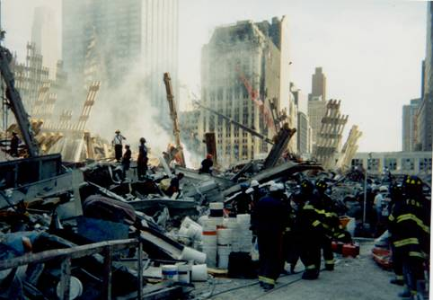 aftermath of the attacks of 9/11/01 seen on 9/12/01