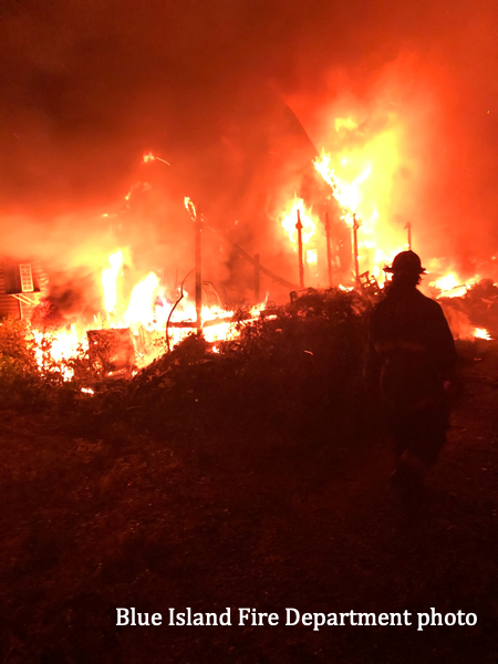 Blue Island junk yard fire