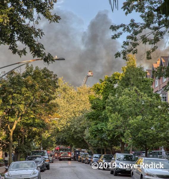 Chicago Firefighters battle a fire