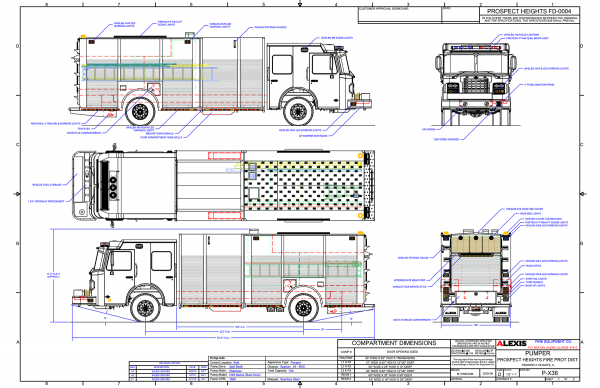 drawing of new Alexis fire engine for the Prospect Heights FDP in Illinois