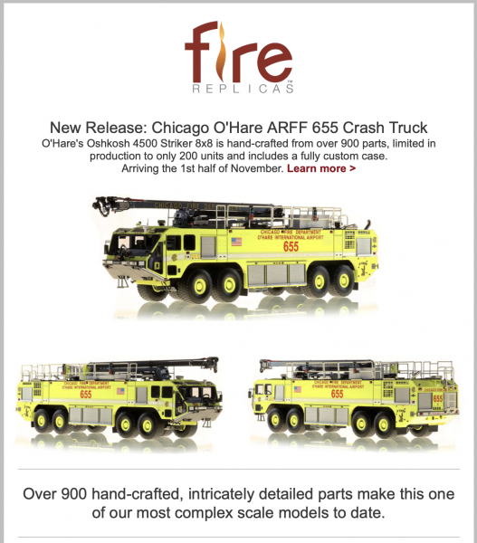 New Chicago Fire Department replica model
