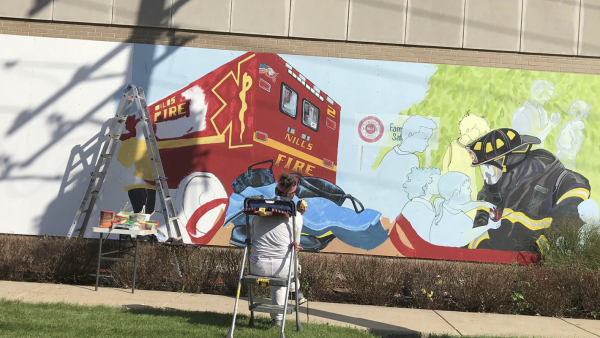 Mural being created at Niles Fire Department Station 2