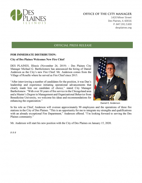 new fire chief in Des Plaines IL