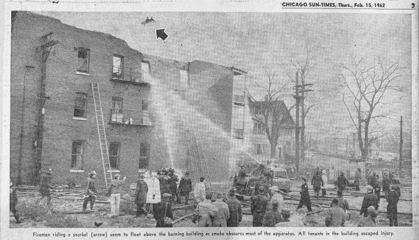 historic newspaper clipping of fatal Chicago fire