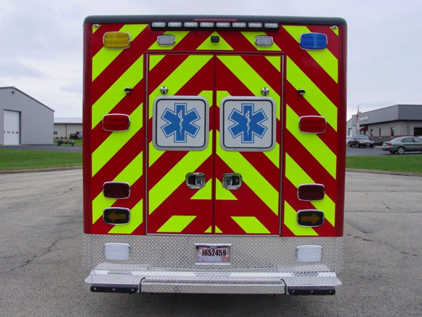 chevron striping on back of new ambulance