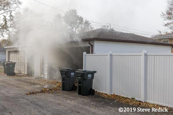 alley garage fire in Morton Grove IL