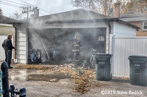 alley garage fire in Morton Grove IL