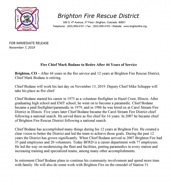 Chief Mark Bodane retires from the Brighton Fire Rescue District