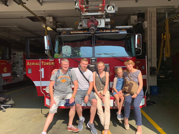 family from Germany visits Chicago fire station