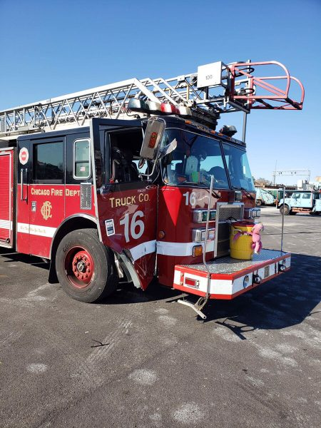 Chicago fire truck damaged in accident