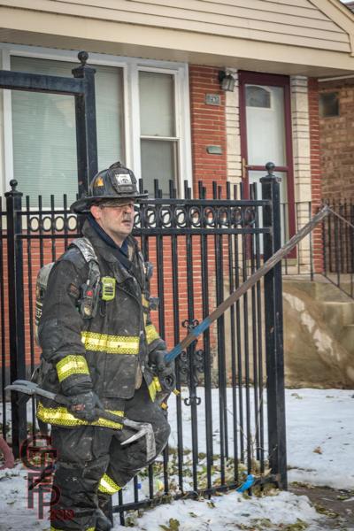 Chicago firefighter after battling a fire