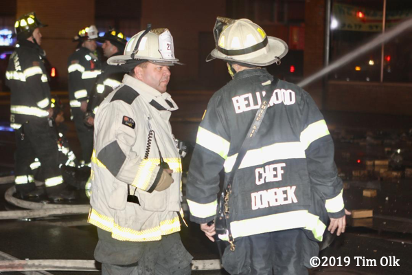 fire chiefs talk at fire scene