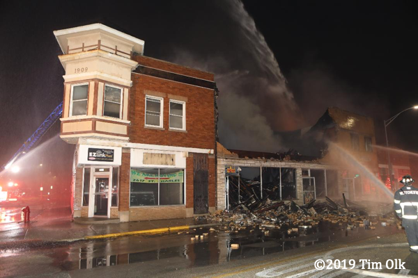 commercial buildings destroyed by fire