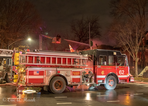Chicago fire engine at fire scene