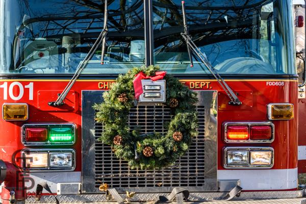 Christmas wreath on fire engine