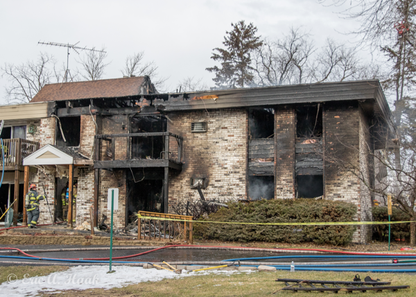 two-story apartment building destroyed by fire