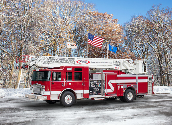 Pierce Enforcer PUC Ascendant quint demo purchased by the Elmhurst Fire Department