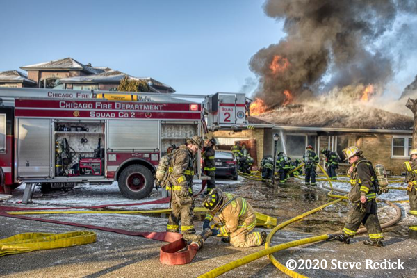 Chicago FD Squad 2A at suburban house fire