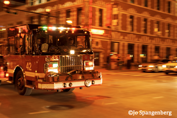 fire engine at nigh in Chicago