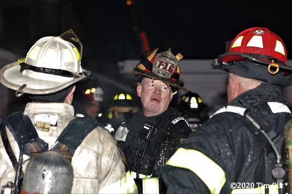 Firefighter after fighting a house fire