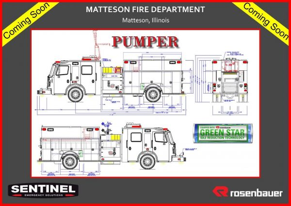 drawing of new Rosenbauer fire engine for the Matteson FIre Department
