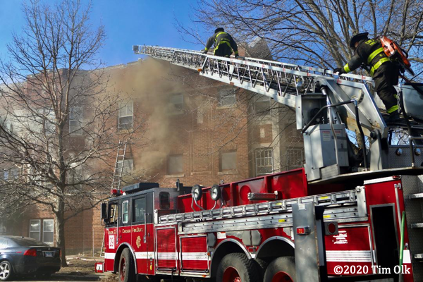 Pierce ladder truck at Chicago fire