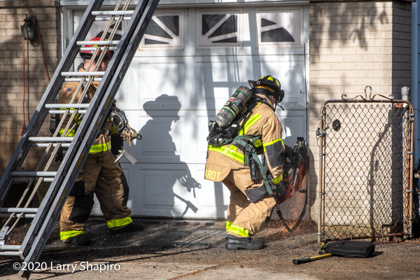 Buffalo Grove firefighter with a saw